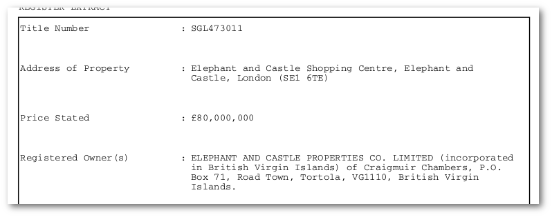 Delancey's Elephant & Castle holdings registered in the BVI